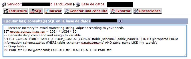 SQL quitar tablas por prefijo
